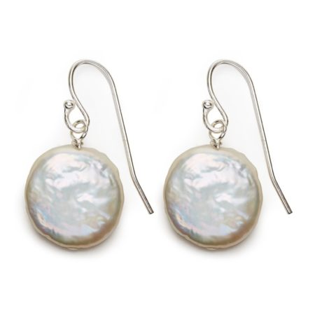 Coin pearl earrings- silver white pearl